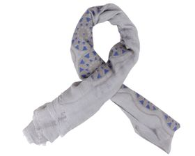 That's a Wrap Ladies Grey Scarf with Blue Geometric and Floral pattern.
