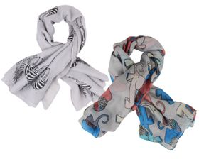 That's a Wrap Ladies 2 Pack of Animal Pattern Scarves (Zebra, Elepant)