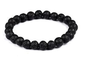 URBAN Charm Men's Natural Stone Lava Rock Bead Bracelet - Black