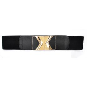 TLBE006  Black Stretch With Gold Textured Arrow Buckle Detail Belt