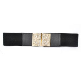 Lily & Rose TLBE007 Black Stretch Belt with Gold Flower Cutout Pattern Filled with Silver Sparkle