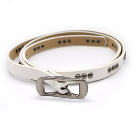 Lily & Rose TLBE016 White Fashion Belt with Gun Metal Studded Pattern