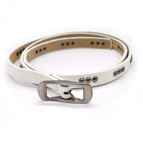 TLBE016 White Fashion Belt With Gun Metal Studded Pattern