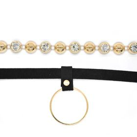 TLN055 Velvet Black Choker With Gold