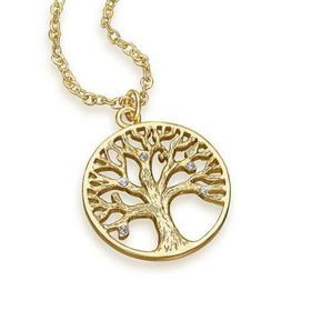 The Gem Seller Tree of Life Pendant Necklace with  Swarovski Elements - Gold