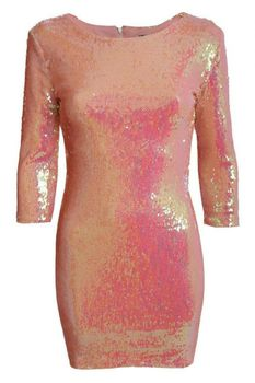 Pilot 3/4 Sleeve Iridescent Sequin Bodycon Dress in Pink