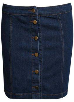 Pilot Button Front Mini Skirt in Denim