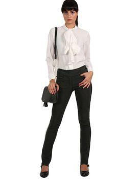 Pilot Extended Button Detail Waistband Straight Leg Plain Trousers in Black