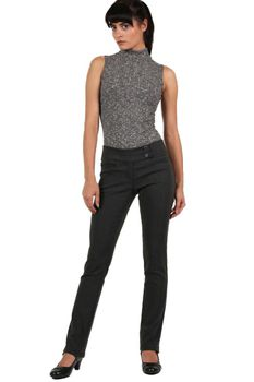 Pilot Extended Button Detail Waistband Straight Leg Plain Trousers in Charcoal Grey