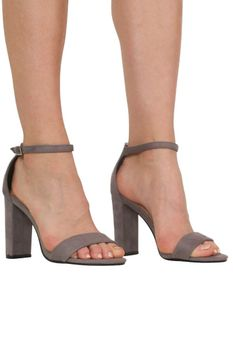 Pilot Faux Suede Block Heel Barely There Strappy Sandals in Light Grey