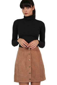 Pilot Faux Suede Front Button Mini Skirt in Tan Brown