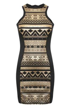 Pilot Gold Aztec Print Bodycon Party Dress in Black