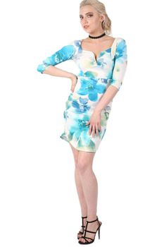 Pilot Half Sleeve Floral Bodycon Dress in Turquoise