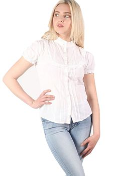 Pilot High Neck Cap Sleeve Button Front Blouse in White