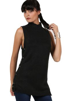 Pilot High Neck Lace Up Sleeveless Knitted Tunic Jumper in Black