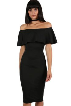 Pilot Off Shoulder Deep Frill Bodycon Midi Dress in Black
