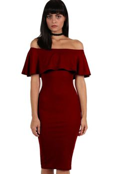 Pilot Off Shoulder Deep Frill Bodycon Midi Dress in Burgundy Red