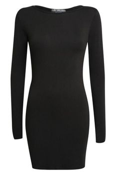 Pilot Plain Long Sleeve Bodycon Dress in Black