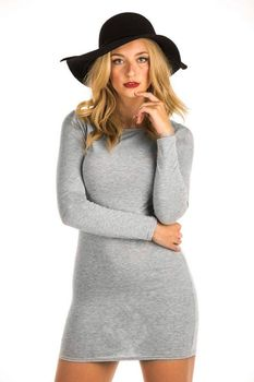 Pilot Plain Long Sleeve Bodycon Dress in Grey
