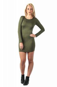 Pilot Plain Long Sleeve Bodycon Dress in Khaki Green