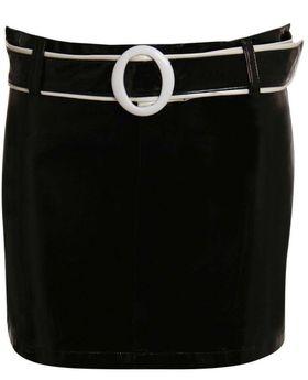 Pilot PVC Belted Mini Skirt in Black