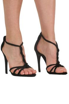 Pilot Velvet Twist Strap Slinky High Heel Sandals in Black