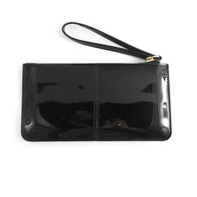 Lily & Rose Black Patent Leather Zip Through Purse TLP082