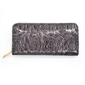 Lily & Rose Dark Purple Glossy Zip Through Purse TLP092