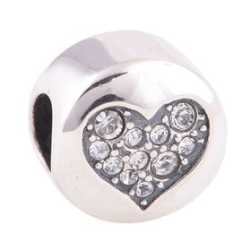 Sterling Silver CLARITY Heart Charm/Pendants D-X123E made with Swarovski Crystals