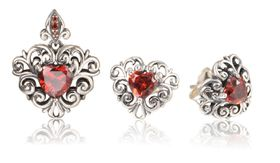 Sterling Silver Heart Shape Ruby Endless Set D-ERPET25
