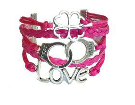 Urban Charm Love, Luck & Freedom Infinity Bracelet- Hot Pink
