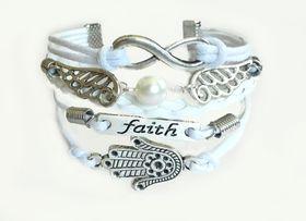 Urban Charm Hamsa Infinity Bracelet- White