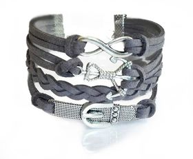 Urban Charm Belt and Anchor Infinity Bracelet- Charcoal Grey