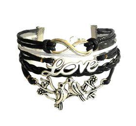 Urban Charm Lovebirds Infinity Bracelet- Black\White