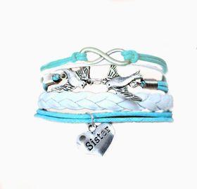 Urban Charm Sister Love Infinity Bracelet- White\Blue