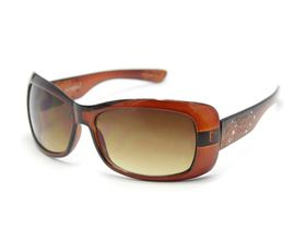 POP Ladies Chic Square Framewith Temple Detail Sunglasses - Brown
