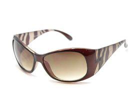 POP Ladies Brown Crystal Zebra Print Sunglasses - Brown