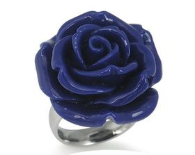 Dark Blue Plastic Flower Stainless Steel Ring