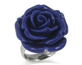 Dark Blue Plastic Flower Stainless Steel Ring