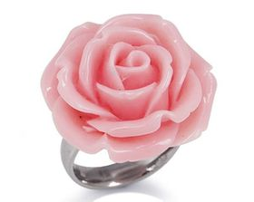 Rose Pink Plastic Flower Stainless Steel Ring