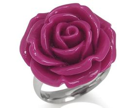Fuchsia Pink Plastic Flower Stainless Steel Ring