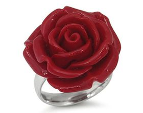 Red Plastic Flower Stainless Steel Ring