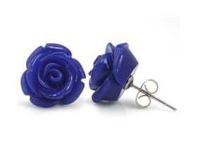Dark Blue Plastic Rose Shaped Earrings with Stainless Steel Pin