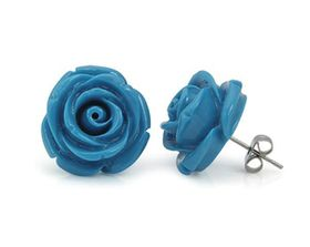 Turquoise Blue Plastic Rose Shaped Earrings with Stainless Steel Pin