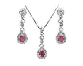 0.58ctw Ruby and Diamond, Earring and Pendant Set in 925 Sterling Silver