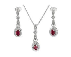 0.60ctw Ruby and Diamond, Earring and Pendant Set in 925 Sterling Silver