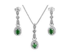 0.55ct Emerald and Diamond, Earring and Pendant Set in 925 Sterling Silver