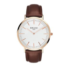 Burano Italy Buriana Watch - Rose Gold Face with Brown Leather Strap