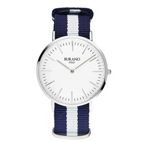 Burano Italy San Mauro Watch - Silver Face with Blue and White Nylon Strap