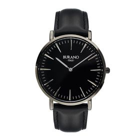Burano Italy Barbaro Watch -  Pure Black Face with Black Leather Strap